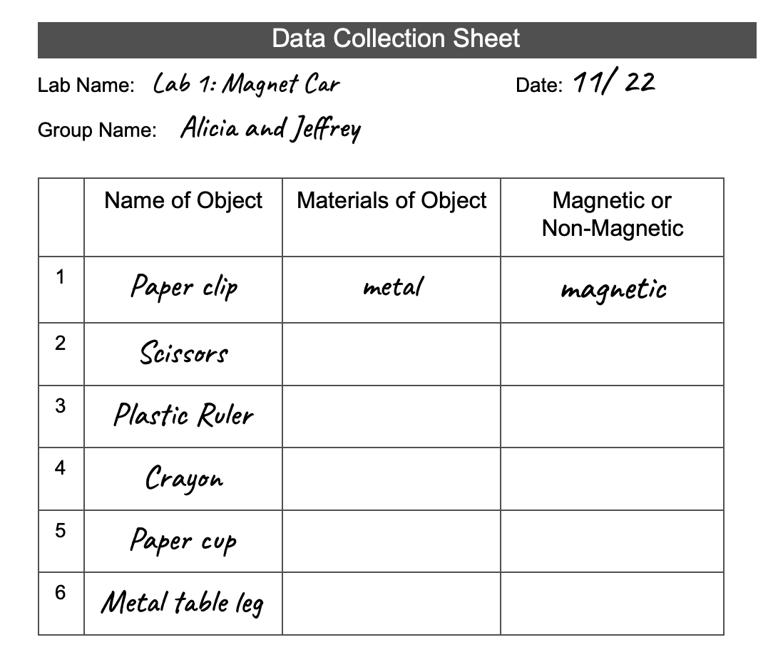 image of partially filled out data collection sheet