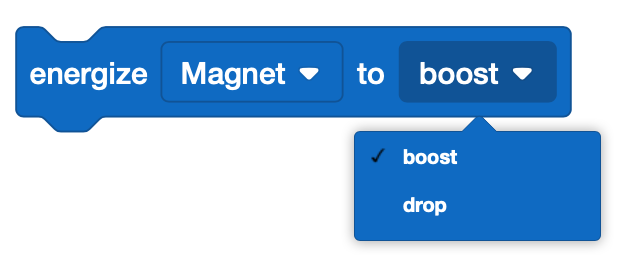 The [Energize Electromagnet] block has two different modes: 'boost' and 'drop.'