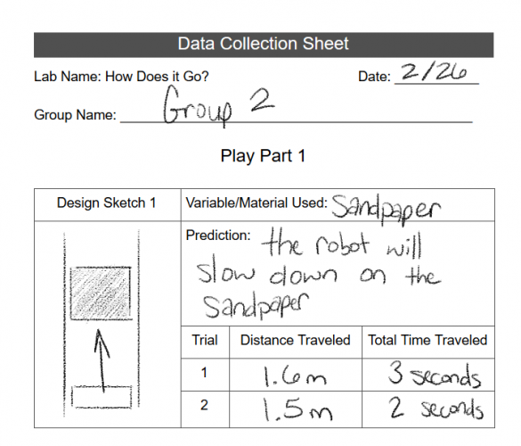 Example Data Collection Sheet